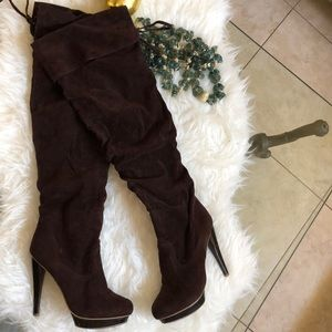 Fahrenheit faux suede fabric over knee high boots